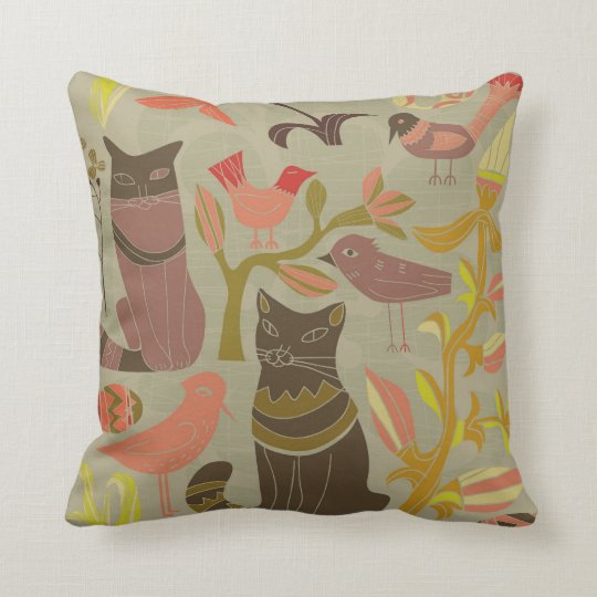 Adorable Cats And Birds Pillow