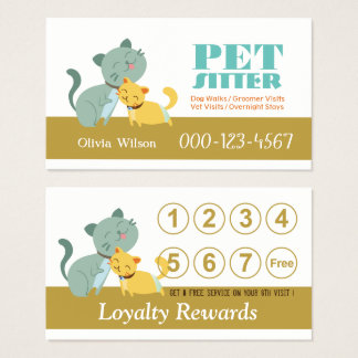 Adorable Cats Loyalty Rewards Pet Sitting Service Business Card