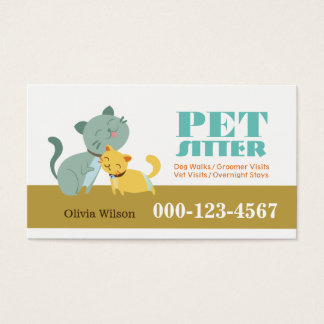 Adorable Cats Pet Sitting Service Business Card