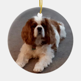 Adorable Cavalier King Charles Spaniel Round Ceramic Ornament