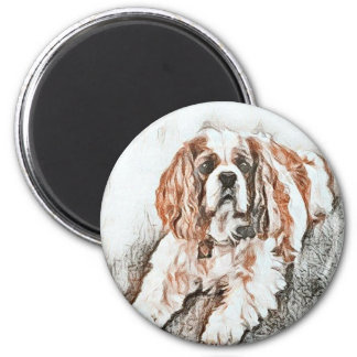Adorable Cavalier King Charles Spaniel Sketch 2 Inch Round Magnet