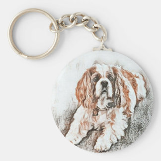 Adorable Cavalier King Charles Spaniel Sketch Basic Round Button Keychain