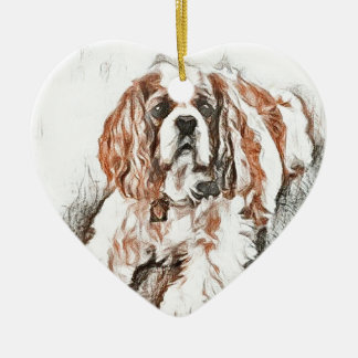 Adorable Cavalier King Charles Spaniel Sketch Ceramic Heart Ornament