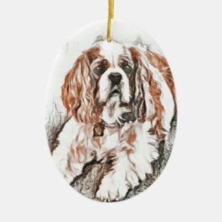 Adorable Cavalier King Charles Spaniel Sketch Ceramic Oval Ornament