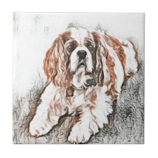 Adorable Cavalier King Charles Spaniel Sketch Ceramic Tile