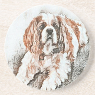 Adorable Cavalier King Charles Spaniel Sketch Coaster