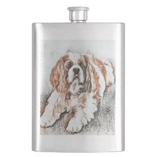 Adorable Cavalier King Charles Spaniel Sketch Hip Flask