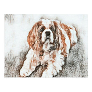 Adorable Cavalier King Charles Spaniel Sketch Postcard