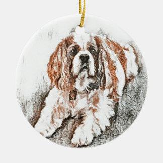 Adorable Cavalier King Charles Spaniel Sketch Round Ceramic Ornament