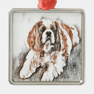 Adorable Cavalier King Charles Spaniel Sketch Silver-Colored Square Ornament