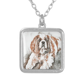 Adorable Cavalier King Charles Spaniel Sketch Silver Plated Necklace
