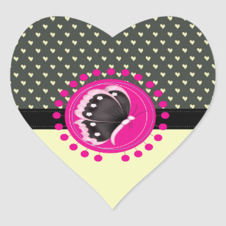 Adorable Charming Butterfly Heart Sticker