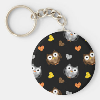 Adorable Checkered Hoot Owl Pattern Keychain