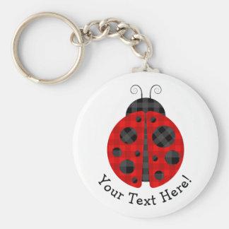 Adorable checkered plaid ladybug graphic icon keychain