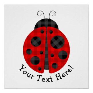Adorable checkered plaid ladybug graphic icon poster