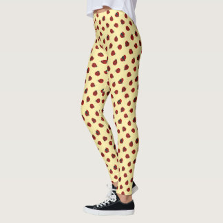 Adorable Checkered Plaid Ladybug Graphic Pattern Leggings