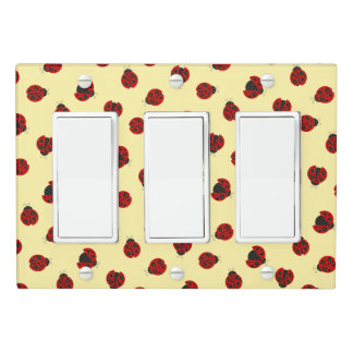 Adorable Checkered Plaid Ladybug Graphic Pattern Light Switch Cover