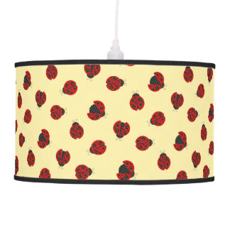 Adorable Checkered Plaid Ladybug Graphic Pattern Pendant Lamp