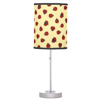 Adorable Checkered Plaid Ladybug Graphic Pattern Table Lamp