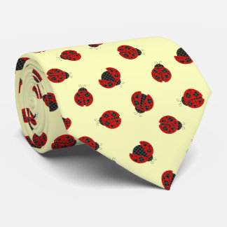 Adorable Checkered Plaid Ladybug Graphic Pattern Tie