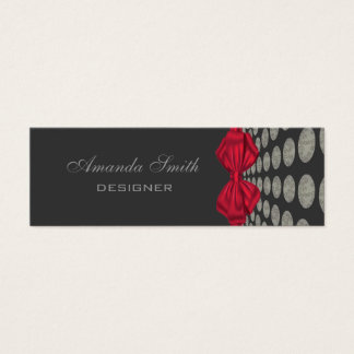Adorable cheerful abstract polka dots red bow mini business card