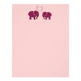 Adorable cheerful cute elephants in love letterhead