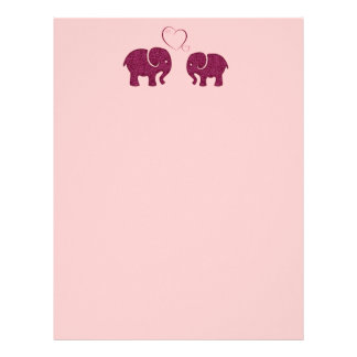 Adorable cheerful cute elephants in love personalized letterhead