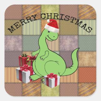Adorable cheerful cute funny Santa dinosaur Square Sticker