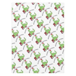 Adorable cheerful cute funny Santa dinosaur Tablecloth