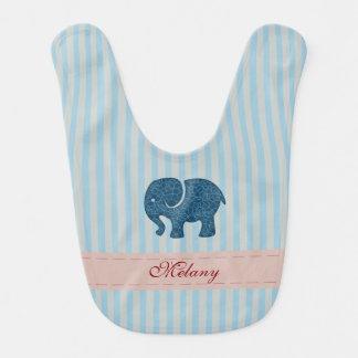 Adorable cheerful Cute modern elephant stripes Bib