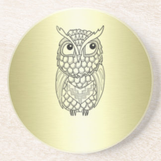 Adorable cheerful Elegant owl golden Drink Coaster