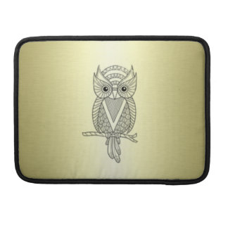Adorable cheerful Elegant owl golden Sleeve For MacBooks