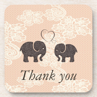 Adorable cheerful elephants in love drink coaster