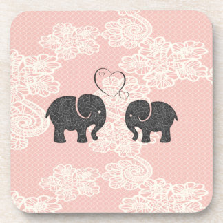 Adorable cheerful elephants in love drink coasters