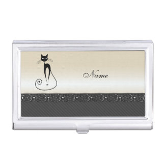Adorable cheerful funny whimsical black cat business card holder