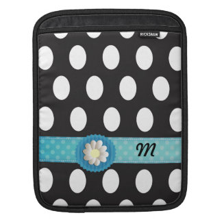 Adorable cheerful girly polka dots daisy monogram iPad sleeves