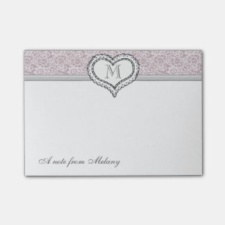Adorable cheerful romantic lace heart monogram post-it notes