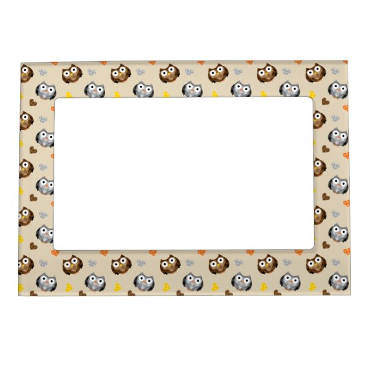 Adorable Chequered Hoot Owl Pattern Photo Frame Magnets