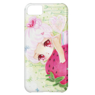 Adorable chibi girl with strawberry case for iPhone 5C