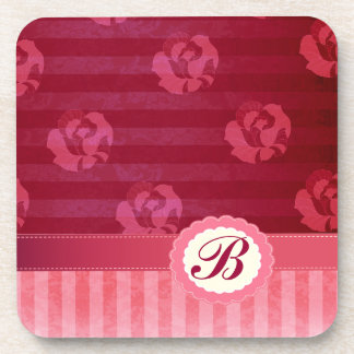Adorable chic vintage roses stripes coaster