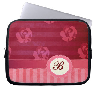 Adorable chic vintage roses stripes laptop sleeves