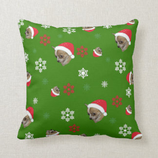 Adorable Chihuahua Christmas Pattern Throw Pillow