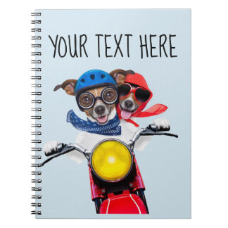 Adorable Chihuahuas on motorcycle notebook