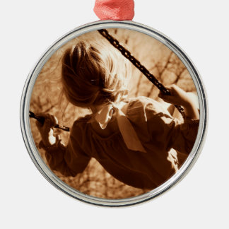 Adorable Child Swing Happiness Sepia Metal Ornament