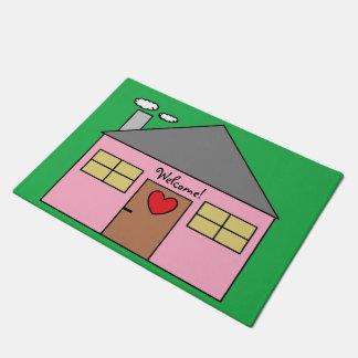 Adorable Childish Pink House Design Welcome Doormat
