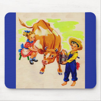 adorable children with adorable cow mouse pad