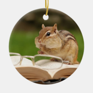 Adorable Chipmunk Reading Ceramic Ornament