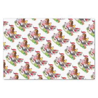 Adorable Christmas Farm Animals in Santa Hats Tissue Paper
