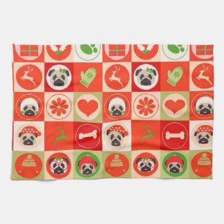 Adorable Christmas Pugs on Red, Green Checks Kitchen Towel