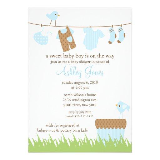 Adorable clothesline boy baby shower invite